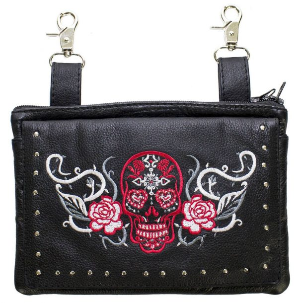 ladies sugar skull leather belt bag
