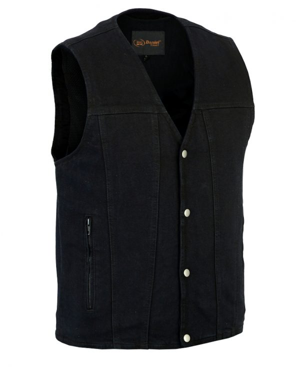 Mens denim vest with biker designs
