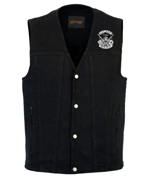Dead mans hand design on denim vest