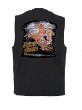 mens denim vest with ride free patch