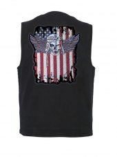 mens denim vest with american flag pilot skull patch