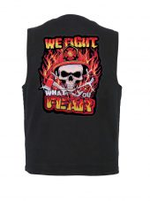 mens denim vest with we fight fear patch