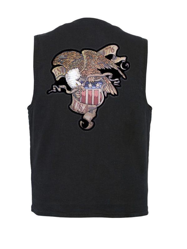 mens denim vest with eagle est 1776 patch