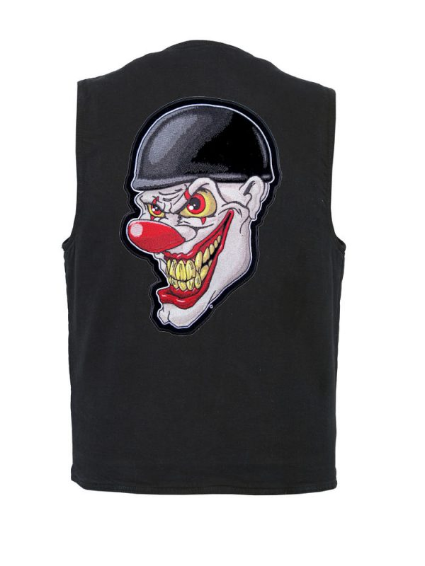mens denim vest with crazy evil clown patch