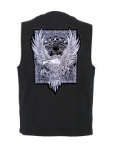 mens denim vest with live free ride hard patch