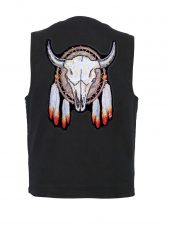 mens denim vest with steer Indian dream catcher patch