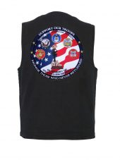 mens denim vest with military heroes patch