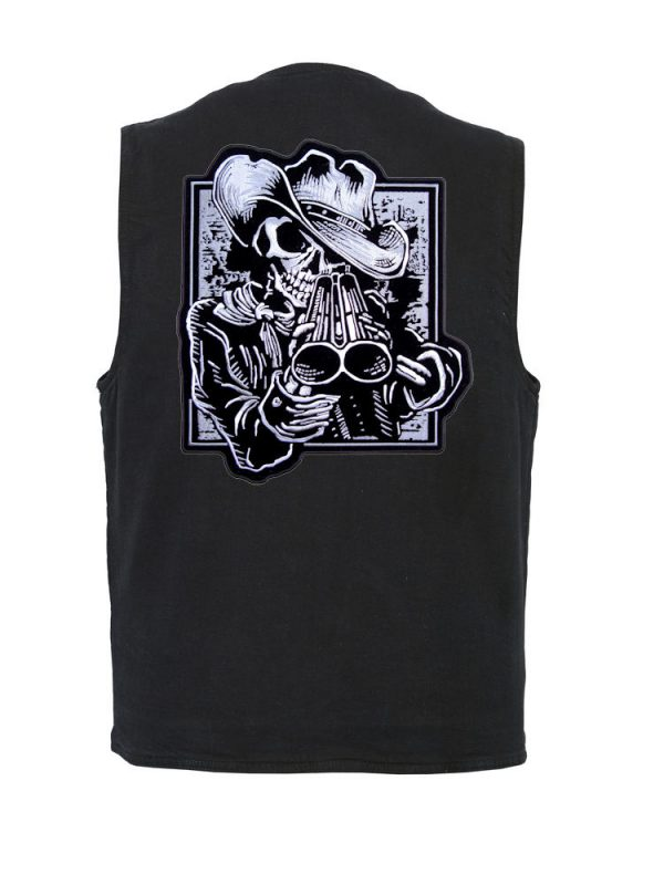 mens denim vest with cowboy skeleton patch