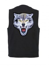 black denim vest with mean looking wolf patch