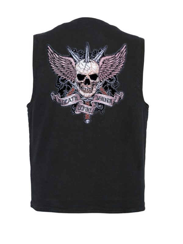 mens denim vest with death before dishonor patch