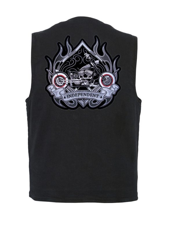 mens denim vest with independent motorcycle spade patch