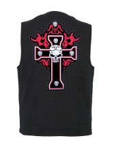 mns denim vest with flaming cross and skulls patch