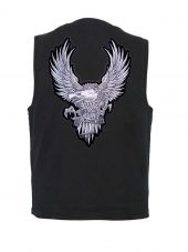 mens denim vest with silver eagle patch