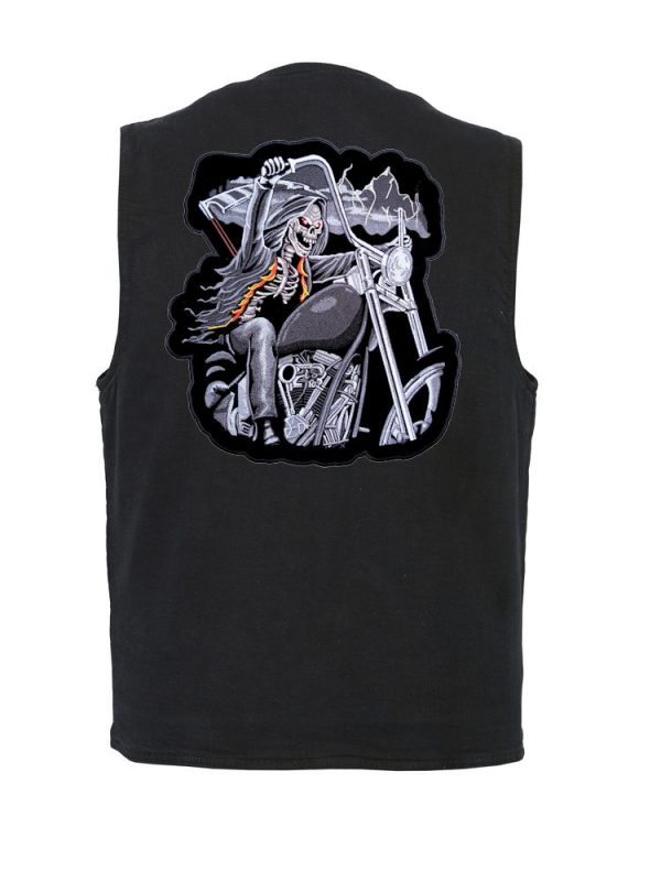 mens denim vest with reaper on motorcycle patch
