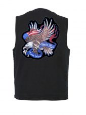 mens denim vest with these colors don't run patch