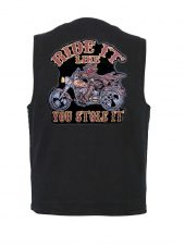 mens denim vest with ride it like you stole it patch