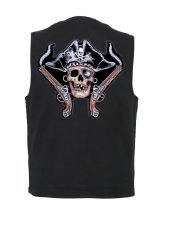 mens denim vest with pirate skull patch