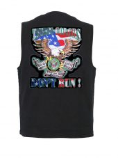 mens denim vest with these colors army patch