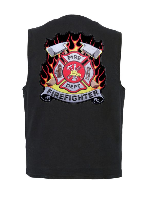 mens denim vest with firefighter Maltese cross