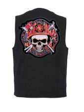mens denim vest with firefighter skull Maltese patch