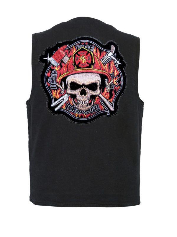 mens denim vest with firefighter skull Maltese patch