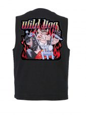 mens denim vest with wild hog patch