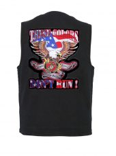 mens denim vest with marines corp patch