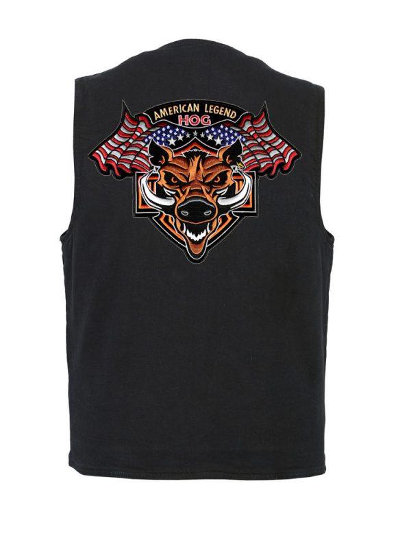 mens denim vest with American Legend Hog patch