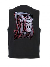 mens denim vest with grim reaper patch