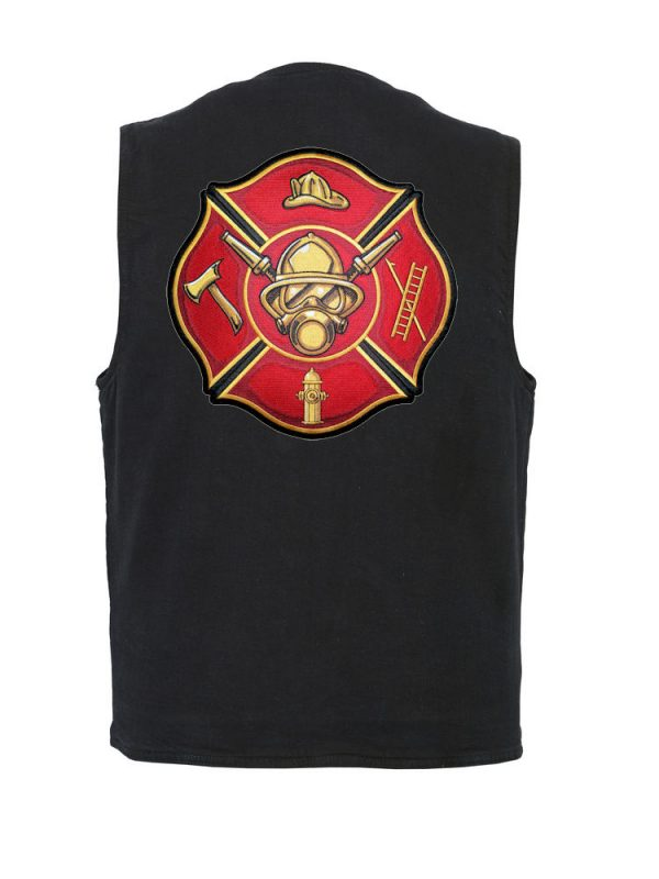 mens denim vest with firefighter Maltese cross patch