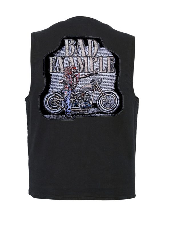 mens denim vest with bad example patch
