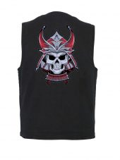 mens samurai black denim vest