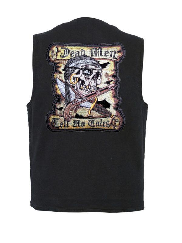 mens black denim vest with dead men tell no tales patch