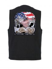 mens denim vest with american wars patch