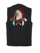 mens black denim vest with Indian tomahawks patch