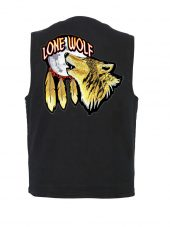 mens black denim vest with lone wolf biker patch