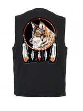 mens black denim vest with wolf feathers biker patch
