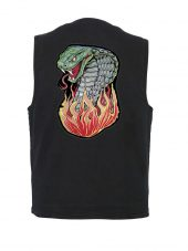 mens black denim vest with hissing cobra biker patch