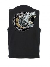 mens black denim vest no rules biker patch