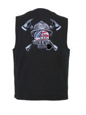 mens black denim vest with 343 helmet patch
