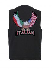 mens black denim vest with Italian eagle patch