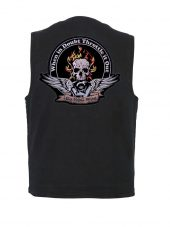 mens denim vest throttle it out biker patch