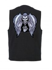mens black denim vest with grim reaper biker patch