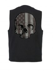 Denim vest with flag half skull patch