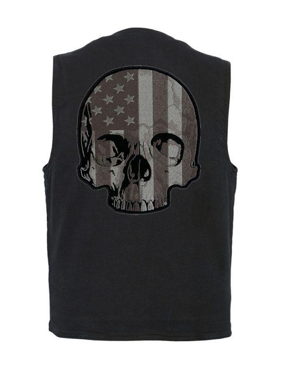 Denim vest with flag half skull patch