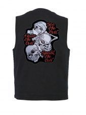 mens denim vest with see no evil patch