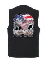 mens black denim vest with POW-MIA Military Patch