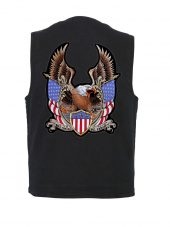 mens black denim vest with patriotic eagle patch
