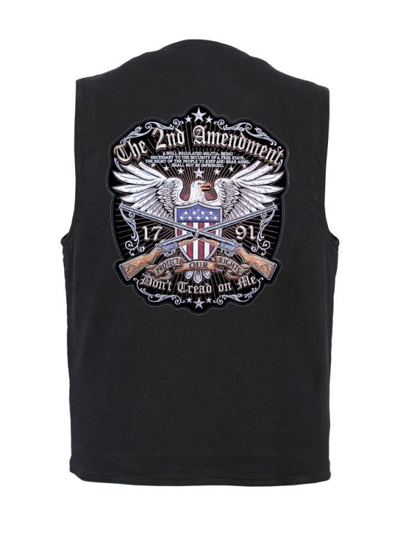 Denim vest with 2nd amendment rights patch