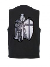 Christian knight patch on denim vest